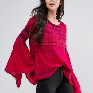 FREE PEOPLE Pink Craft Time Raglan Bell Sleeve S
